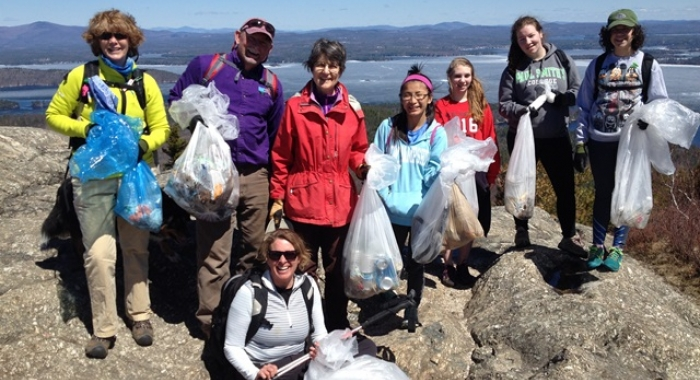 Mt Major clean-up crew on the summit with their garbage bags.